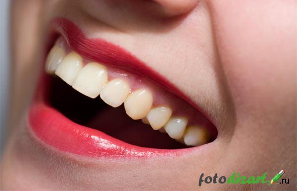 зубы до отбеливания в фотошопе