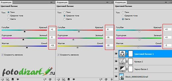 тонирование фото параметры коррекции цветов