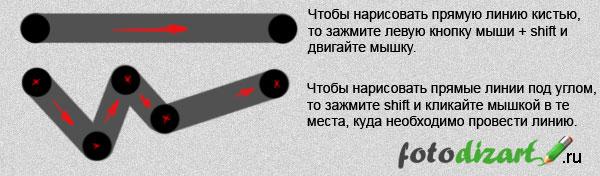прямые линии при помощи кисти в фотошопе