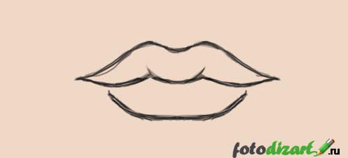 как нарисовать губы в фотошопе